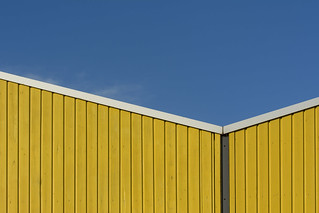 Yellow building with white edge