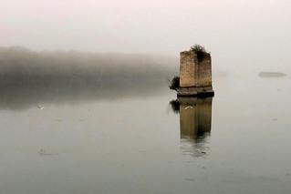 Bridge pillar in the fog