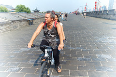 2018 Xi'an - On and Around the Old City Walls 30 (C & R Driver-Burgess) Tags: xian wall city towers ancient historical stone defense tourist cyclist tandem together women 西安