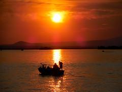 Sunset Fishing (amarilloladi) Tags: cloverisland columbiariver sunset boat fishing reflections fishingboat silhouettes lensflare pacificnorthwest washington evening 7dwf crazytuesdaytheme summer