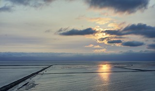 Sunset over salt ponds