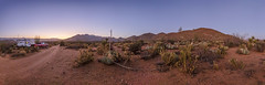 Deserted In the Desert - New Favorite Campsite In Anza-Borrego. Panorama. (slworking2) Tags: julian california unitedstates us anzaborrego anzaborregodesertstatepark blairvalley camping campsite camper trailer rv twilight sky colorful desert landscape bluehour solitude boondocking