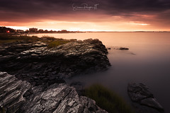 The Curtain Rises (Simmie | Reagor - Simmulated.com) Tags: 2018 bradleypointpark clouds connecticutphotographer d750 landscape landscapephotographer longislandsound longexposure morning nature naturephotographer nikon outdoors park rocky september sunrise trees westhaven beach calm colorfulsky daylight digital light noperson rockybeach scenic sky water