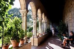 Quiet Contemplation (Anne Marie Clarke) Tags: cloisters nyc metropolitanmuseumofart manhattan hudsonriver museum restoration medieval monastery light garden reading