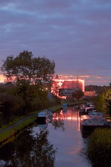 Leeds Liverpool Canal with boats and Canal Mill, Chorley, Lancashire, UK (BrianDerbyshire) Tags: uk lancashire chorley botanybay canalmill canal boats night water reflections