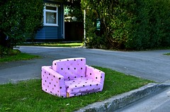couch (stephen trinder) Tags: stephentrinder stephentrinderphotography aotearoa kiwi landscape thecouchesofchristchurch sofa settee mini toy doll funny spotty unwanted discarded sidewalk path verge pink playful christchurch christchurchnewzealand old used