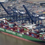 The CSCL Indian Ocean in the Port of Felixstowe - aerial image thumbnail