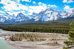 Proudest Mountain Peaks (Alison Claire~) Tags: canada alberta north america jasper national provincial park nature wild outdoor outdoors landscape water blue ice snow mountains mountain rock tree trees pine cloud cloudscape sky skyscape lake stream pond