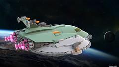 03 RETRO SPACE HERO'S SPACESHIP - Fly Mode Back Art (Nuno_0937) Tags: lego ideas classic space spaceship ship moc retro hero minifigure