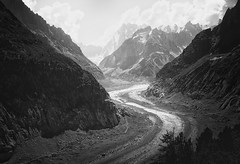 Mer de Glace (ChristianMandel) Tags: merdeglace glacier alps ilce7iii sonya7iii sonnartfe35mmf28za landscape blackandwhite bw montblancmassif mountains