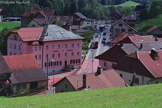 SF_22A_00194 - On the road, the train goes trough the village of Montbovon, Gruyère region - Switzerland