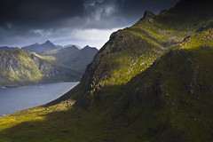 the light (Ela Dzimitko) Tags: norway norwegia utakliev uttakliev blue navy green light mountains mountain fjord lofoten vestvagoy clouds cloud dramatic atmospheric hill hiking hills hillwalking