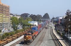 Sunday Morning Stack Train (imartin92) Tags: emeryville california unionpacific railroad railway freight train locomotive ge generalelectric es44ac gevo emd sd70ace bnsf et44ac c449w dash9