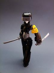 Vantablack (Djokson) Tags: soldier assasin cyborg cyberpunk fembot girl ninja black yellow gray swords armor machine djokson lego moc bionicle toy model drone