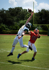 Almost intercepted. (Beth Reynolds) Tags: football action sports highschool jump pass intercepted florida game play