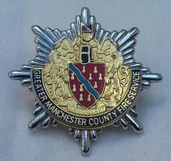 Greater Manchester County Fire Service Cap Badge 1985-2000 (Lesopc) Tags: gmcfs greater manchester county fire service brigade cap badge logo 1985 1986 1987 1988 1989 1990 1991 1992 1993 1994 1995 1996 1997 1998 1999 2000 uk rescue