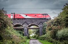 LNER Countryside (deltic17) Tags: lner train cloudy raining rail railway bridge road countryside tree bush lane moody red virgin virgineastcoast eastcoast eastcoastmainline ecml canon 50mm