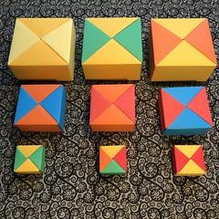 ORIGAMI BOXES (12) (JOHN MORGANs OLD PHOTOS.) Tags: made by john morgan 160 gsm card for my ribbon brooches origami boxes box