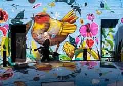 London Graffiti (W.MAURER foto) Tags: gelb london blau graffiti reflection bird street streetphotography fuji fujix100f girl wall