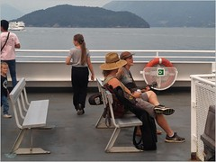 Bowen Island Ferry Music BC18h19 LG (CanadaGood) Tags: canada bc britishcolumbia bowenisland bcferries ferry sea howesound people person music mountain island canadagood 2018 thisdecade color colour cameraphone sign
