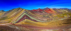 The total panorama of the beautiful colored Rainbow Mountain, near Cusco in the peruvian mountains. Located about 20km south of Ausangate mountain. (terraexperiences) Tags: adventure america arcoiris background beautiful cerro clear color colorful cusco elevation gorgeous high hike hiking landform landscape latin montana mountain mountains nature panorama panoramic peru peruvian rainbow red rock scenery scenic sight south spectacular tour tourism tourists trail travel trekking view terraperu pérou