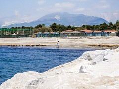 #Seaside #Rocks #Sea (gabriele.785) Tags: mountain sea beach rock rocks people open nature light colours marinadimassa italy tuscany dog blue sky