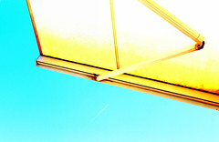 summertime...with parasol (claredlgm1) Tags: summer lights brightness shiny blue parasol sky contrast yellow minimal abstract lines geometric