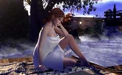 Pondering .. (Larah Sa'fir) Tags: cute girl bath onsen hot springs
