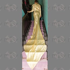 1930s Long Sleeve Wedding Gown (Rickenbackerglory.) Tags: 1930s vintage longsleeve wedding dress gown train silk stairs model