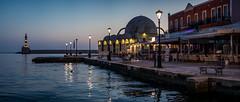 Venetian Harbour (Bastian.K) Tags: kreta blue hour blaue stunde street lamp strasenlaterne laterne strasse strase griechenland greece greek griechisch grieche chania iraklio heraklion sony fe 85mm 14 gm panorama