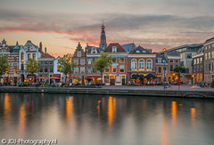 Summer evening (JdJ Photography (www.jdj-photography.nl)) Tags: spaarne haarlem noordholland nederland netherlands benelux europa europe continent dag day overdag daytime avond evening zonsondergang sunset rivier river cafés bars pubs restaurants mensen people sintbavokerk kerk church bomen trees