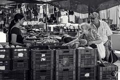 ¡Niña, ¿A cómo van los melocotones?! (Carlos Velayos) Tags: street streetphotography streetphoto fotodecalle mercado marketplace monocrhome monocromo blancoynegro blackandwhite people gente photo