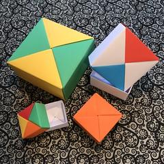 ORIGAMI BOXES (3) (JOHN MORGANs OLD PHOTOS.) Tags: made by john morgan 160 gsm card for my ribbon brooches origami boxes box