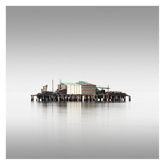 Capanna VI (Vesa Pihanurmi) Tags: capanna hut piles fishing sea lagoon venezia venice italy minimalism fog longexposure lagunaveneta venetianlagoon architecture shack