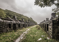 Open to the elements (grbush) Tags: derelict decay abandoned dinorwicquarry angleseybarracks northwales snowdonia path buildings rain clouds sonyilce7 tokinaatx116prodxaf1116mmf28