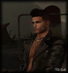 Me / Moi / Yo (SL = Retogay) Tags: gay signature male secondlife beard blue clear piercing necklace rlv black metal hair leather