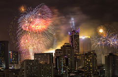 Beautiful New Year Fireworks in the heart of Bangkok, Thailand's Capital City. (baddoguy) Tags: 2018 architecture bangkok bright building activity exterior capital cities celebration cityscape color image copy space dark downtown district explosive famous place financial firework material display fog holiday event horizontal igniting landscape modern multi colored national landmark new year night no people noise outdoors photography showing skyscraper smoke physical structure thailand tourism traditional festival travel destinations unusual angle vibrant