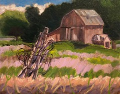 "Quiet Afternoon.  11x14"" Plein Aire oil painting. (Sue Cutler, Ann Arbor artist) Tags: impression landscape art painting original oilpainting barns"