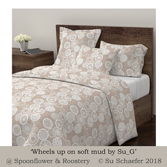 'Wheels up on soft mud by Su_G': duvet cover mockup (Su_G) Tags: sug 2018 wheelsuponsoftmudbysug duvet mockup wyandotteduvetcover doonacover doona quiltcover quilt soft warm mud softmud cycle cycleoflife wheel wheeloflife chalk handdrawn browns brownandwhite textural textured spoonflower roostery wheelsup bedding bedlinen softfurnishing homedecor