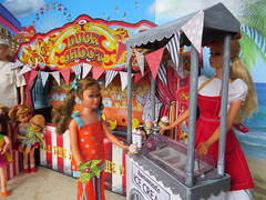 10. Double scoop (Foxy Belle) Tags: doll vintage barbie diorama summer carnival fair 16 scale playscale food beach sand boardwalk ice cream stand game skipper stacey work job rement buffy mrs beasley chris ken tutti