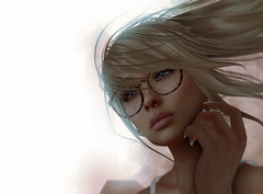 Haze (Nok' Tallulah) Tags: woman portrait face photo photograph art artwork artist sl secondlife digital digitalart french france 3d photoshop ps visage girl blonde glasses photographie moment instant virtual life reality natural unique creations draw realistic real reflexion reflection thoughts light memory