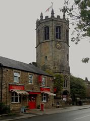 Hornby Pie Shop and St. Margarets Church. (Gerry Hat Trick (was Wontolla1)) Tags: stmargaretschurch hornby lancashire lancs pieshop butchers riverlune wednesdaywalk crjtowers lune valley octagonal tower church