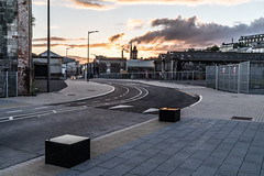 THE REFURBISHED KENT RAILWAY STATION AND NEARBY [PHOTOGRAPHED AT SUNSET IN SEPTEMBER 2018]-144415 (infomatique) Tags: thomaskent trainstation memorial glanmireroadstation hogansquay transport publictransport busservice bikehire williammurphy sunset sony a7riii streetphotograpgy irishrail cie
