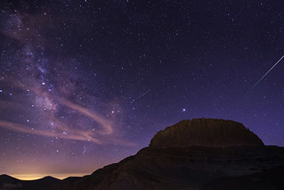 Perseids meteor shower at the top of Olympus Mount.