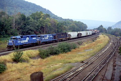 CR GP40 -2 3367, B23-7 2803, B&O GP40 4030 enter Enola Yard PA, June 1986 (swissuki) Tags: conrail cr enola gp402 b237 gp40 bo baltimoreandohio railroads us pa