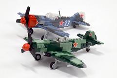 Red Air Force in World War II (2) (Dornbi) Tags: lego aircraft soviet russia wwii il2 yak9 yakovlev lavochkin la7