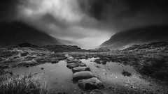 Light ahead... (Einir Wyn Leigh) Tags: landscape blackandwhite monochrome bw valley nature climate autumn wales clouds storm weather water rocks mountains light