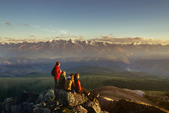 811314466 (creative guide) Tags: mountain friends top fun travel summer happy people hiking together group nature backpack success adventure landscape trekking hike leisure young sunset journey hiker girl lifestyle team freedom view activity person sky female women adult tourist holiday extreme high peak looking male silhouette horizon achievement endurance man rock caucasian four copyspace russia rus