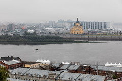 View of Alexander Nevsky Cathedral. (Oleg.A) Tags: ancient autumn russia church cloudy old city outdoor style bell town clouds dome exterior blue colorful cross cathedral morning tower orthodox shadow architecture skyscape nizhnynovgorod yellow design overcast catedral outdoors nizhnynovgorodoblast ru