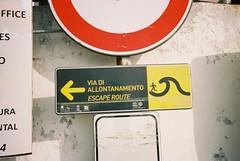 Stromboli (cranjam) Tags: ricoh gr1 gr1v film kodak portra160 italy italia stromboli island isola eolie sicilia sicily unesco worldheritagesite sign cartello escaperoute viadiallontanamento